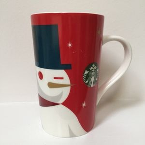 Starbucks Ceramic To-Go Cup Holiday Snowman Winking Oramments 2012